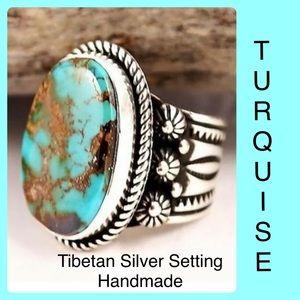 Turquoise Tibetan Silver Handmade Boho Ring SZ 6
